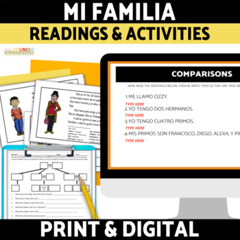 Spanish Family Familia Reading and Activities