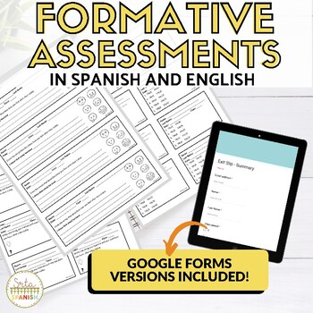 Formative Assessment Templates in SPANISH AND ENGLISH