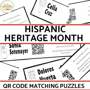 Hispanic Heritage Month QR Code Matching Activity
