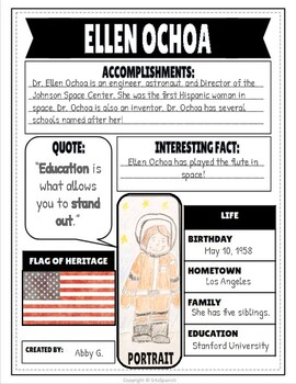 Hispanic Heritage Month Project Research Poster SPANISH AND ENGLISH