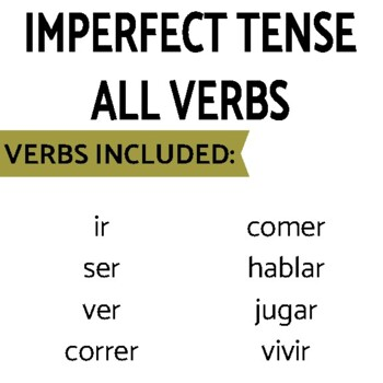 Imperfect Regular and Irregular Verbs Review Game Pack
