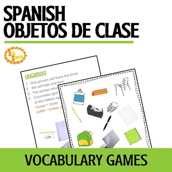 Los Objetos de Clase School Supplies Vocabulary Games