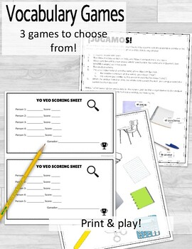 Los Objetos de Clase School Supplies Vocabulary Worksheets