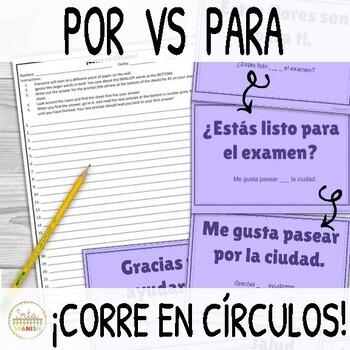 Por and Para ¡Corre en Círculos! Activity
