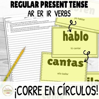 Present Regular AR ER IR Verbs ¡Corre en Círculos! Activity