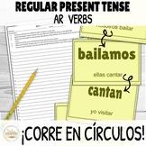 AR Verbs Present Tense ¡Corre en Círculos! Activity with D
