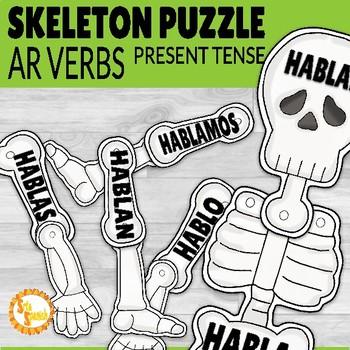 Present Tense AR Verbs Día de los Muertos Skeleton Puzzle