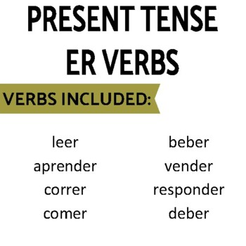 Present Tense ER Verbs Review Game Pack