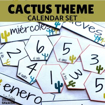 Spanish Calendar Bulletin Board Printable Set Cactus Theme