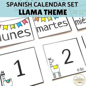 Spanish Calendar Bulletin Board Printable Set Llama Theme