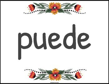 Spanish High Frequency Verb Posters Floral Theme EDITABLE