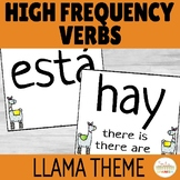 Spanish High Frequency Verb Posters Llama Theme EDITABLE