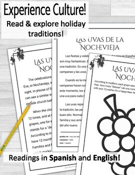 Spanish Holidays Reading Activity La Nochevieja y Las Uvas
