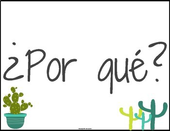 Spanish Question Word Posters Cactus Theme