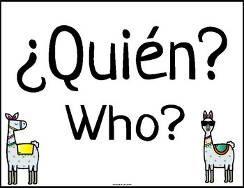 Spanish Question Word Posters LLAMA Theme