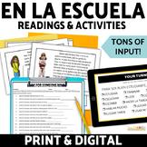 Spanish School Schedule Reading and Activities