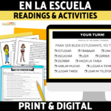 La Escuela Spanish School Schedule Reading and Activities