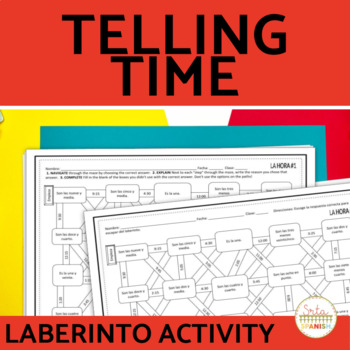 Telling Time Spanish Laberinto Practice Activity