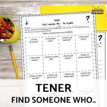 Tener Present Tense - Human Bingo