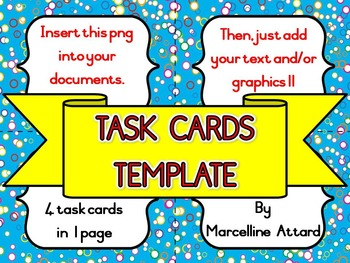 TASK CARDS CLIPART: BRIGHT AND COLORFUL TASK CARDS TEMPLATE CLIPART