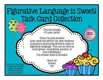 50 Figurative Language Task/Flash Cards, Partner, Small Group, Intervention
