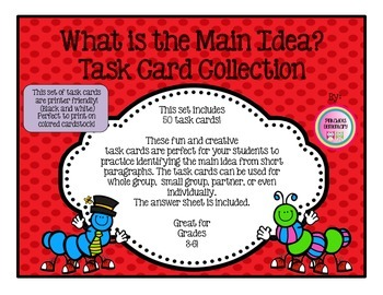 50 Finding Main Idea Task Cards/Flash Cards, Partner, Small Group, Intervention