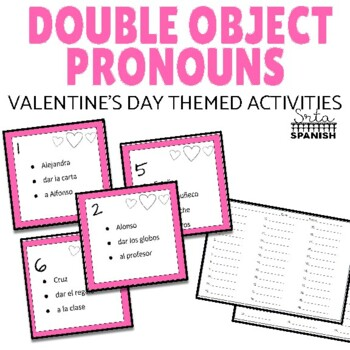 Double Object Pronoun Valentine's Day Theme Task Cards
