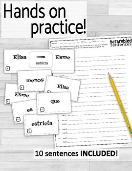 Comparisons and Adjectives in Spanish Scrambled Sentences
