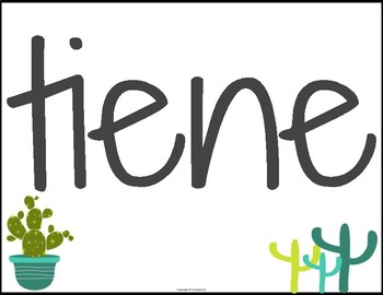 Spanish High Frequency Verb Posters Cactus Theme