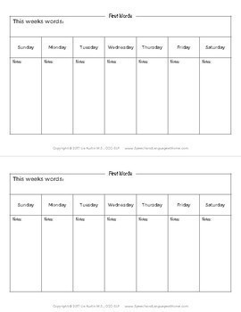 50 First Words - Early Intervention Handouts for Parents