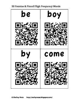 50 Fountas & Pinnell QR High Frequency / Sight Words Flash Cards / Word Wall