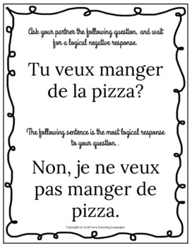 50 French Simple Negation Speaking and Listening Cards