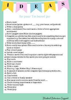 50 Fun Activity Ideas I M Bored Jar By Empower Support Grow Tpt