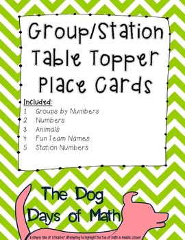 50 Green Chevron Group Station Table Topper and Labels