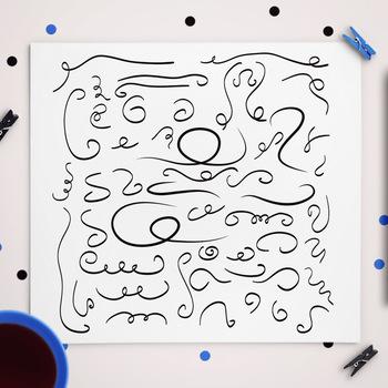 50 Hand Drawn Doodle Swirls | Decorative Flourish Vector Clip Art | AI, EPS