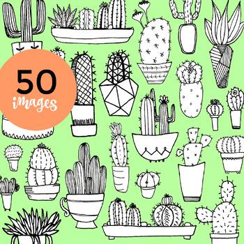 50 Hand-drawn Cacti Clip-Art w/ White Fill