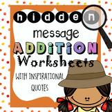 50+ Hidden Inspirational Messages Addition Worksheets
