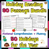 50 Holiday Reading Comprehension Passages with Questions + Fluency: 80 Stories!