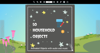 50 Household Objects Animated Flip Book with audio and background music