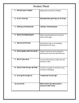50 Idioms! Read, Define, Write!