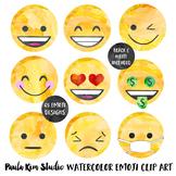 Watercolor Emoji Clip Art