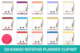 50 Kawaii Notepad Planner Clipart- Planner Clipart