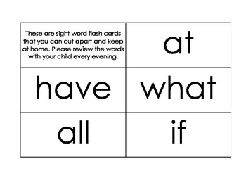 50 Kindergarten Sight Words Flash Cards Using Literacy First Words