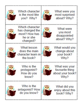50 Literature Circle/Book Discussion Question Task Cards for Grades 4-9
