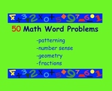 50 Math Word Problems (Patterning, Number Sense, Geometry, Fractions)