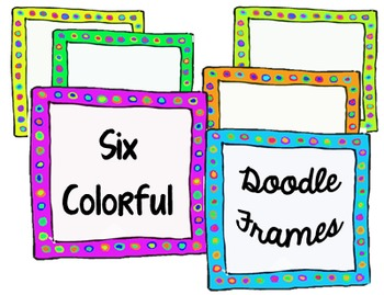 50 More Colored Doodle Frames- Commercial Use