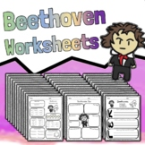 25 Beethoven Worksheets - Composer Tests Quizzes Homework Reviews or Sub Work!