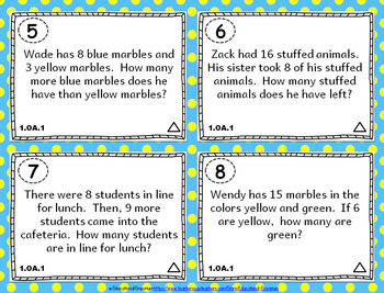 1.OA.1 Task Cards: Addition & Subtraction Word Problems Task Cards, 1OA1 Centers