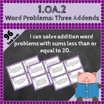 1.OA.2 Task Cards: Word Problems with Three Addends Task Cards, 1.OA.2 Centers