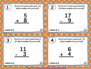 1.OA.5 & 1.OA.6 Task Cards 1OA5 1OA6: Addition & Subtraction within 20 Task Card